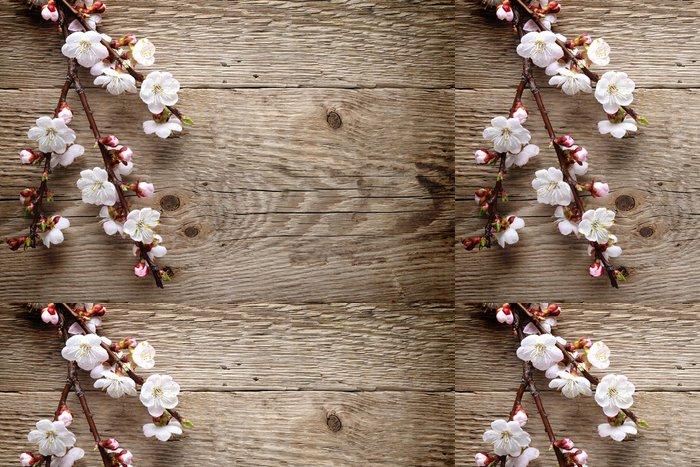 Vinylová Tapeta Jarní květy na dřevo pozadí - Roční období