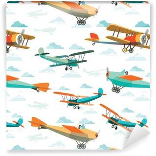 Tapeta Winylowa Jednolite wzór z retro Samoloty