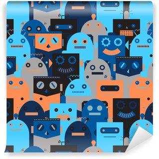Tapeta Winylowa Jednolite wzór z rocznika robotów