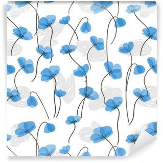 Vinylová Tapeta Jemné modré květy bezešvé vzor. vektorové květinové pozadí.