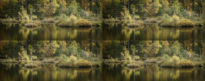 Tapeta Pixerstick Jezero s ostrůvky stromů a rostlin, krásný podzimní den - Venkov