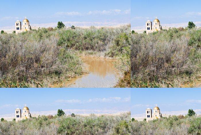 Tapeta Pixerstick Jordan River Valley a St.John kostela nedaleko místa křtu - Náboženství