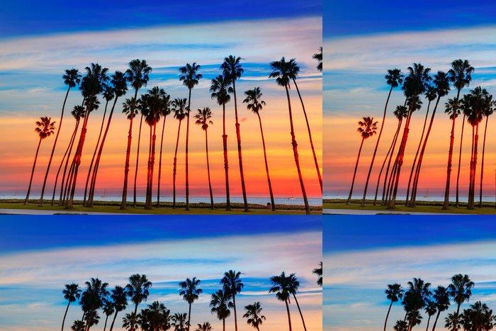 Tapeta Pixerstick Kalifornie Západ slunce Palmové řádků v Santa Barbaře - Amerika