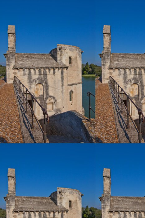 Tapeta Pixerstick Kaple Saint-Nicolas v Saint-Benezet mostu. Avignon, Francie - Evropa