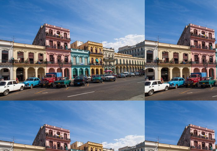 Tapeta Pixerstick Karibik Kuba Havana Gebäude an der Hauptstrasse - Prázdniny