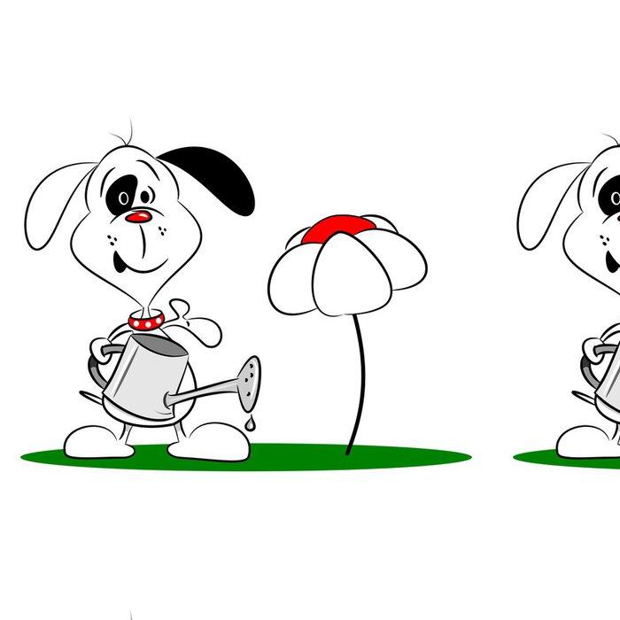 Tapeta Pixerstick Karikatura pes s konev na bílém pozadí - Nálepka na stěny