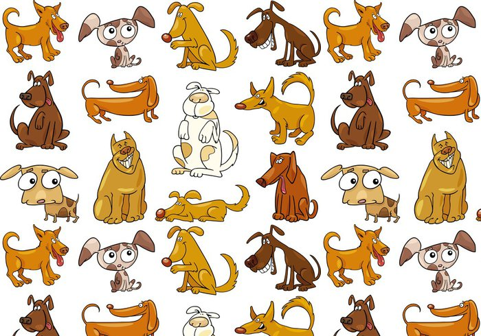 Vinylová Tapeta Karikatura psi nastavit - Savci