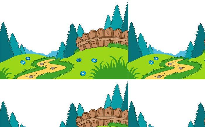 Tapeta Pixerstick Karikatura venkovská krajina - Venkov