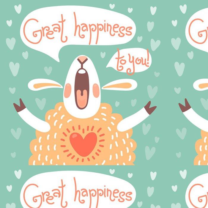 Tapeta Pixerstick Karta na narozeniny nebo jiné dovolenou s roztomilý ovce - Savci