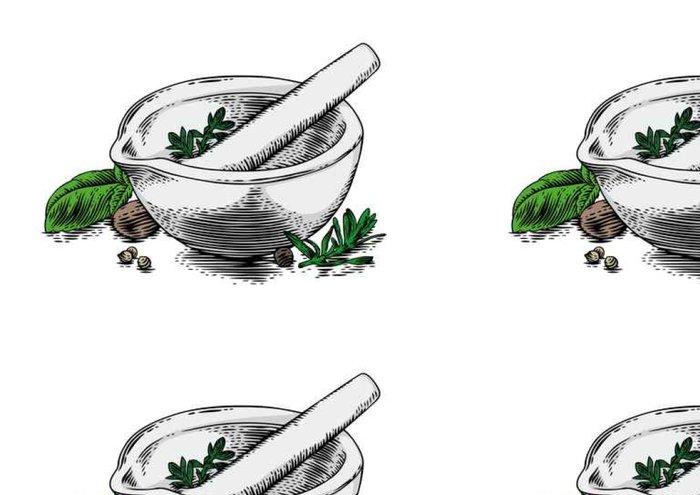Tapeta Pixerstick Keramická malta s bylinkami a kořením - Jídlo