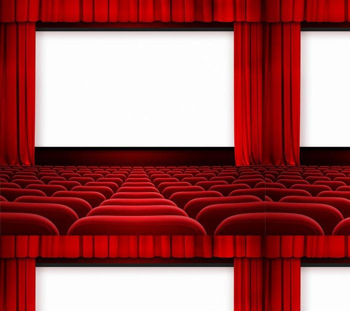 Tapeta Pixerstick Kino displej s otevřenou oponou a červených křesel - iStaging