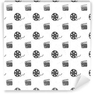 Vinylová Tapeta Kino páska, film naviják a klapka vinobraní bezešvé vzor, handdrawn náčrtek, retro film a film průmyslu, vektorové ilustrace