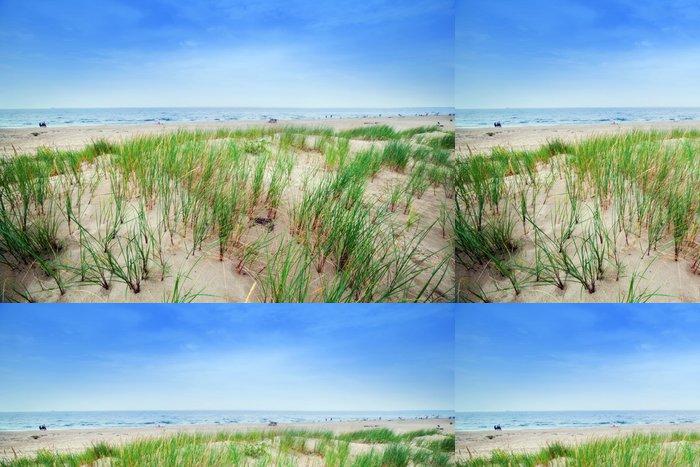 Tapeta Pixerstick Klidná pláž s dunami a zelené trávy. Klidné moře - Voda