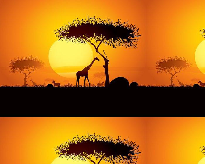 Tapeta Pixerstick Klidné západ slunce scéna v Africe - Témata