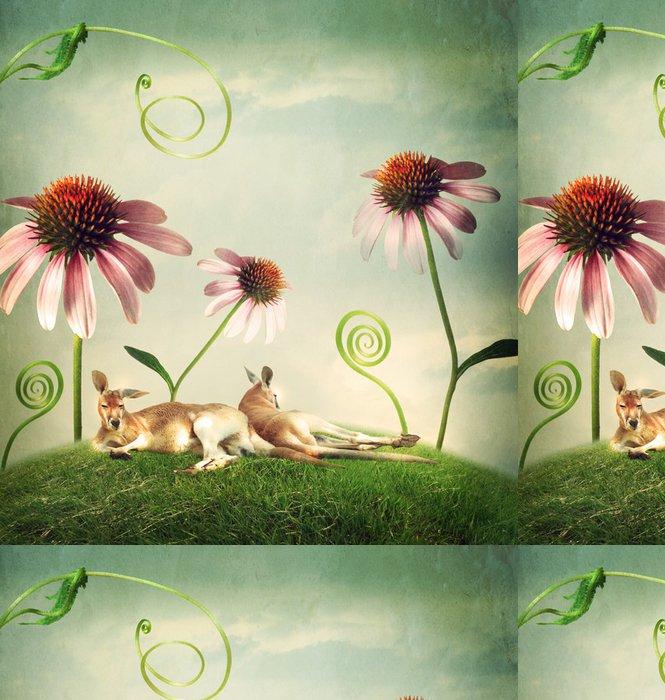 Vinylová Tapeta Klokaní páry dřímání pod květiny - Imaginární zvířata