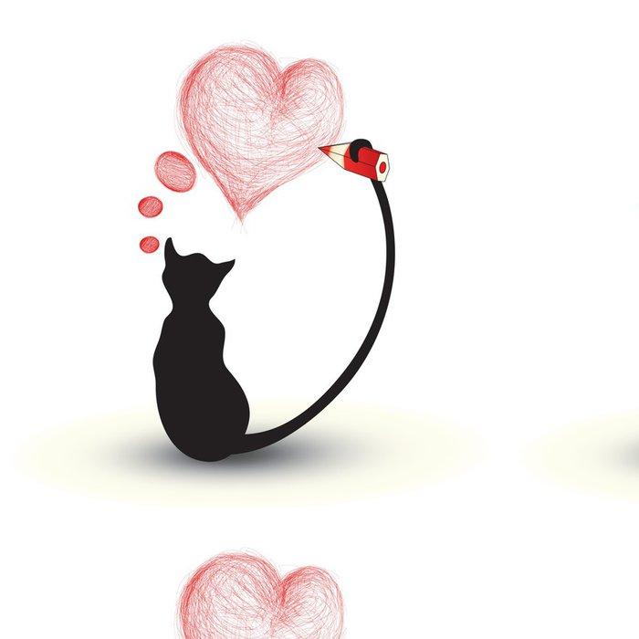Tapeta Pixerstick Kočka kreslení srdce - Mezinárodní svátky