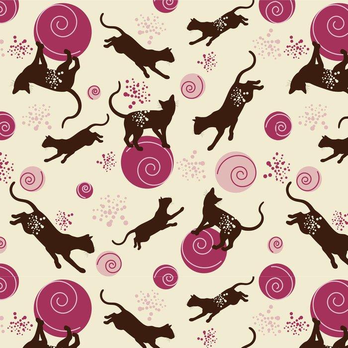 Tapeta Pixerstick Kočky s míčem - bezešvé vzor pro děti - Savci
