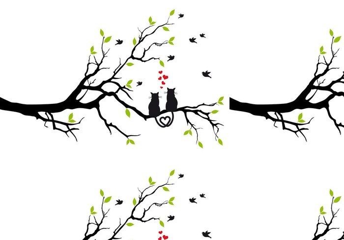 Tapeta Pixerstick Kočky v lásce na větev stromu, vektoru -