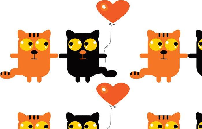 Tapeta Pixerstick Kočky v lásce - Imaginární zvířata