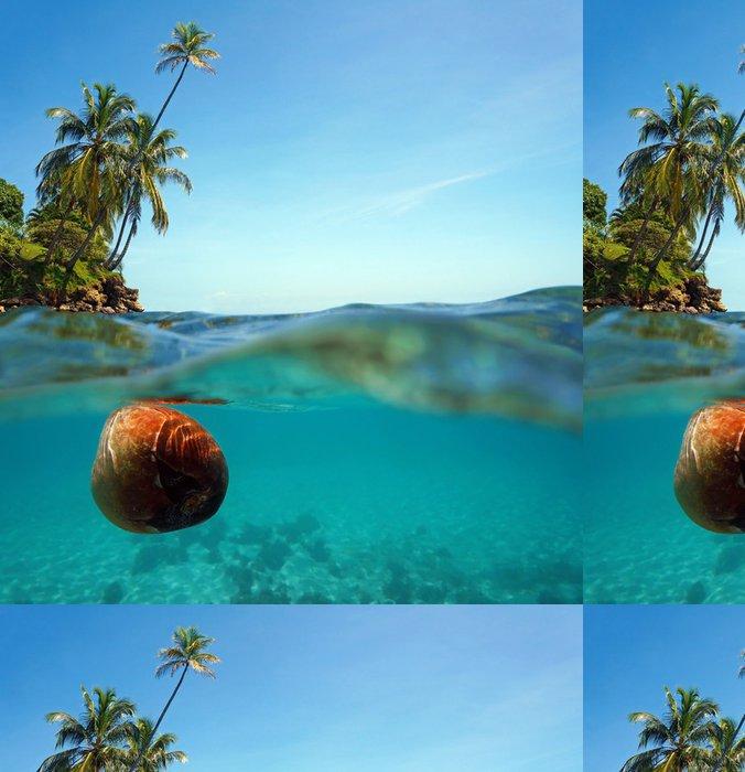 Tapeta Pixerstick Kokos závěje na vodní hladině a kokosové palmy - Amerika