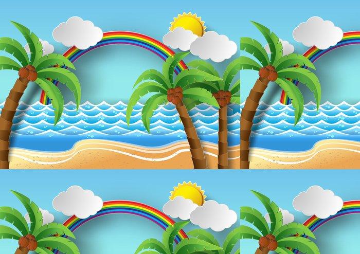 Vinylová Tapeta Kokosové palmy na pláži a slunce omezeně odolné proti rainbow.vector illustrat - Prázdniny