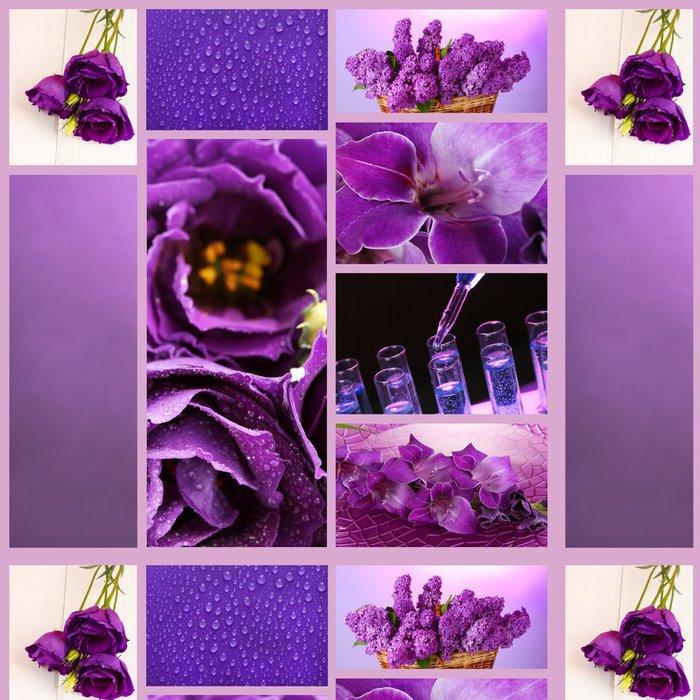 Tapeta Pixerstick Koláž z fotek ve fialové barvy - Květiny