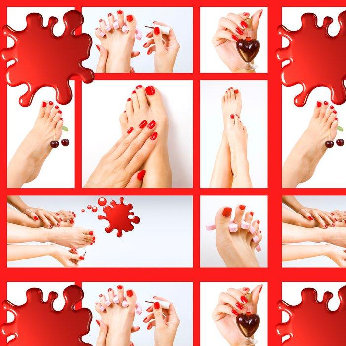 Tapeta Pixerstick Koláž z několika fotek pro kosmetický průmysl (červená manikúra a - Životní styl, péče o tělo a krása