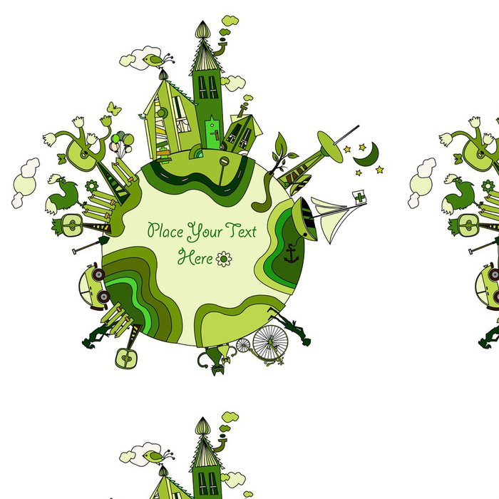 Tapeta Pixerstick Kolem zeleného světa bio - Prvky podnikání
