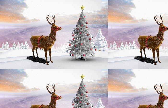 Tapeta Pixerstick Kompozitní obraz z vánoční strom a sobů - Mezinárodní svátky