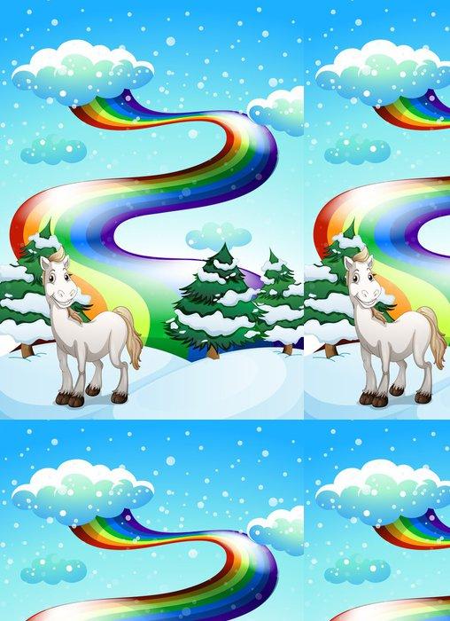 Tapeta Pixerstick Koně v zasněžené oblasti a duha na obloze - Savci