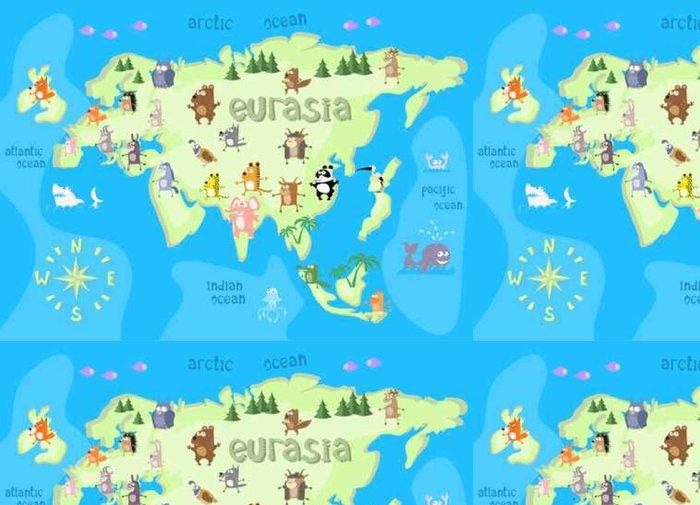 Tapeta Pixerstick Konstrukce mapa pojetí euroasijského kontinentu se zvířaty kreslení v legrační kreslený styl pro děti a předškolní vzdělávání. vektorové ilustrace - Grafika