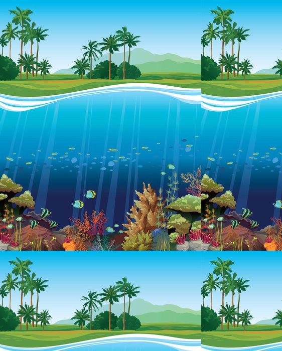 Tapeta Pixerstick Korálový útes s podvodními tvory. - Vodní a mořský život