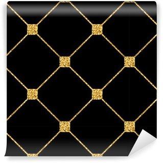 Vinylová Tapeta Kosočtverec bezešvé vzor. Zlaté třpytky a černá šablona. Abstraktní geometrické textury. Zlatý ornament. Retro, Vintage dekorace. Šablona návrhu tapety, balení, textilie atd. Vektorové ilustrace.