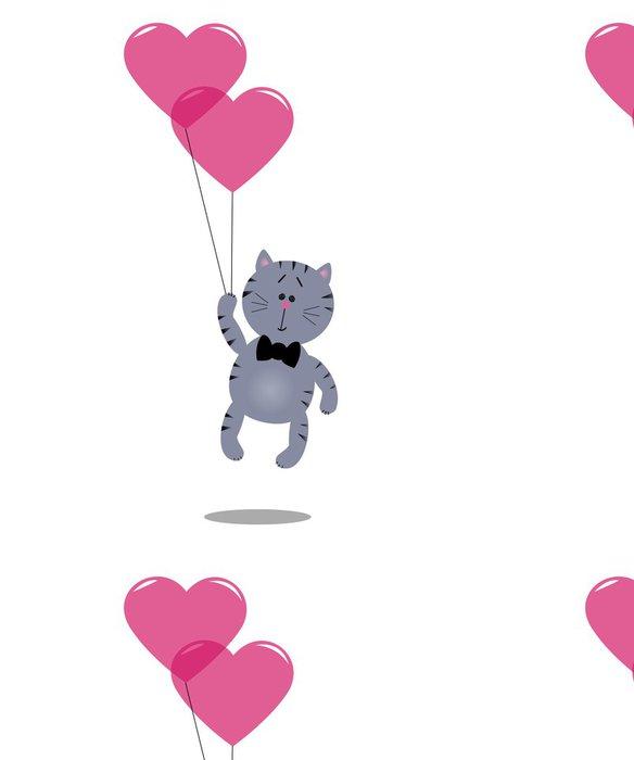 Vinylová Tapeta Kotě se srdcem balónky - Štěstí