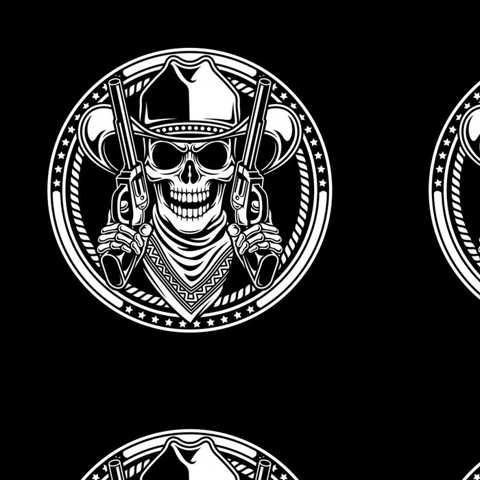 Tapeta Pixerstick Kovboj lebka držet zbraně - Značky a symboly