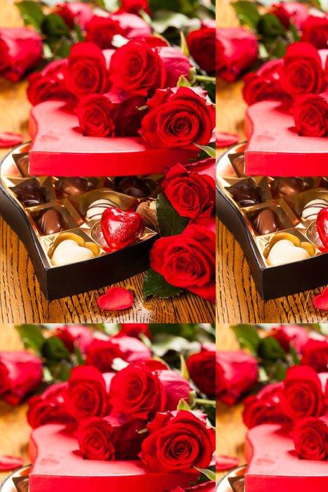 Tapeta Pixerstick Krabice čokoládových pralinek s červenými růžemi - Mezinárodní svátky
