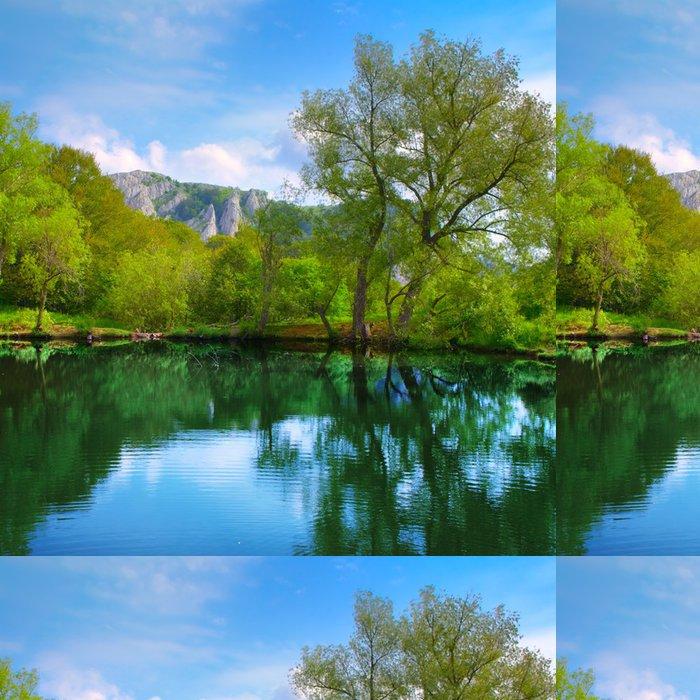 Tapeta Pixerstick Krajina s jezerem - Evropa