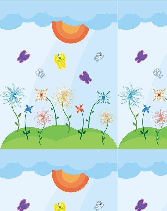 Vinylová Tapeta Krajina s motýly - Přírodní krásy