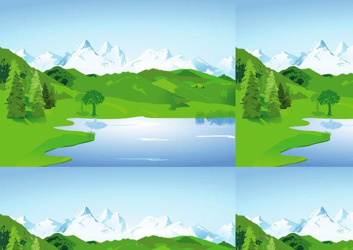 Tapeta Pixerstick Krajina s vysokými horami a jezerem - Hory