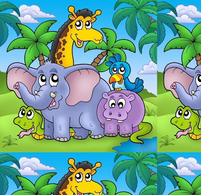 Tapeta Pixerstick Krajina se skupinou zvířat - Pro předškoláka