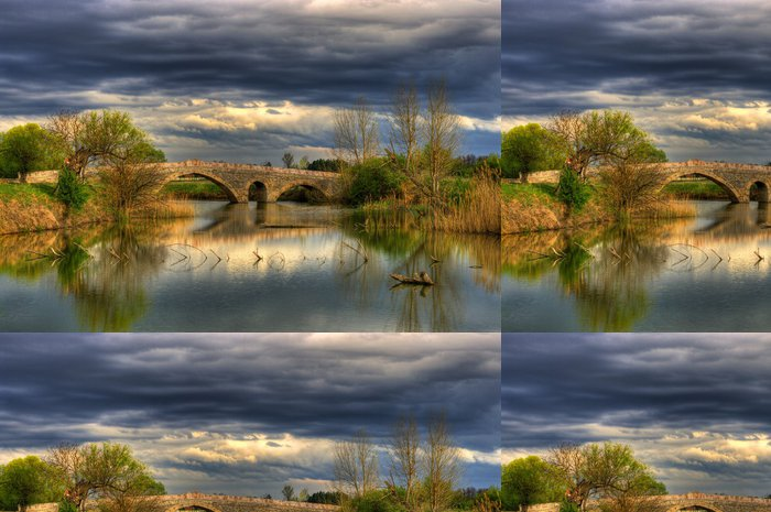 Vinylová Tapeta Krajina se starým kamenným mostem - Roční období