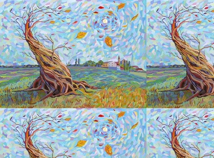 Tapeta Pixerstick Krajina se stromem v grafickém stylu - Přírodní krásy