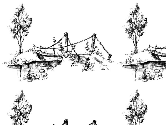Vinylová Tapeta Krajina se suspendovaným most přes řeku skica - Voda