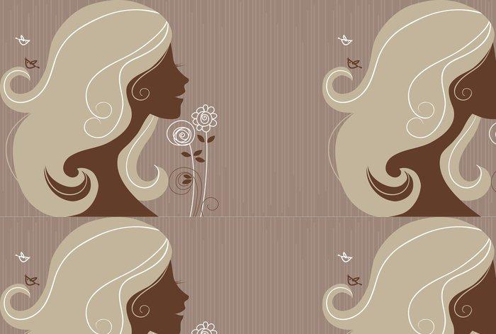 Tapeta Pixerstick Krásná dívka silueta s květinami - Žena