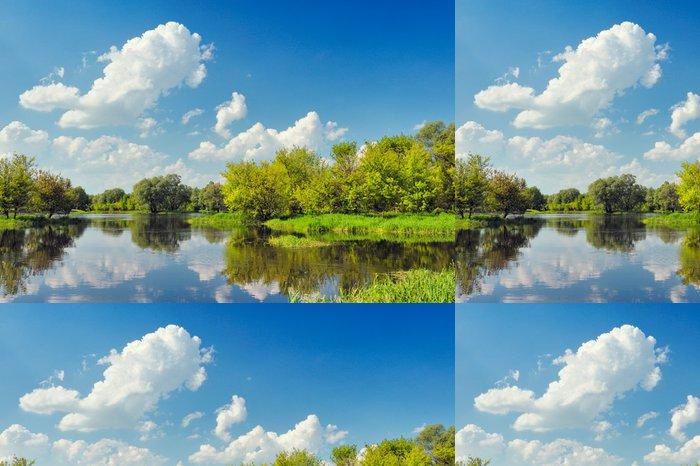 Tapeta Pixerstick Krásná krajina tapety s povodňovými vodami Narew řeky. - Témata
