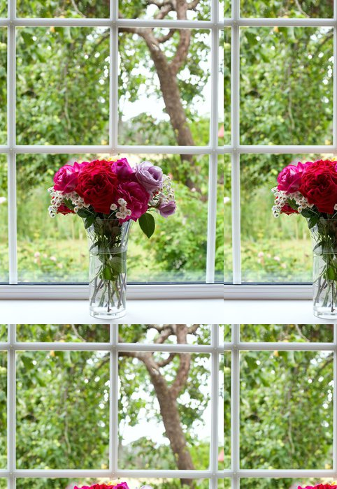 Tapeta Pixerstick Krásná kytice na okenní parapet - Květiny