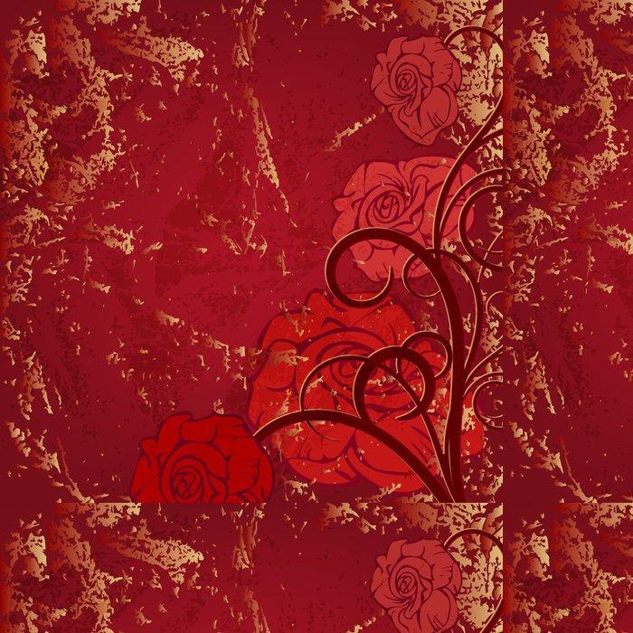 Tapeta Pixerstick Krásná rohová viněta s červenou růží na staré pozadí - Pozadí