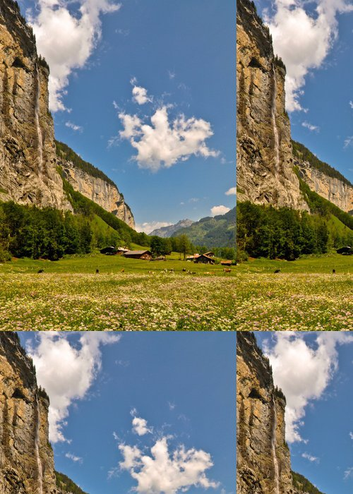 Tapeta Pixerstick Krásná Švýcarské Alpy Mountain Valley krajina - Evropa