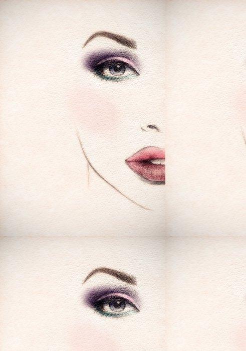 Tapeta Pixerstick Krásná ženská tvář. akvarel ilustrace - Témata