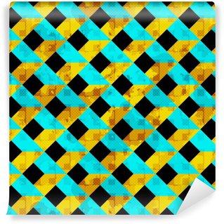 Tapeta Pixerstick Krásné barevné mnohoúhelníky s bílými obrysy bezešvé vzor vektorové ilustrace